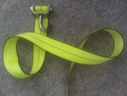 10 ft strap with a single swivel J sewn to the end