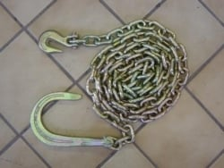 10 ft tow chain with 8 inch J hook and clevis grab
