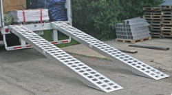 "Pair of 16 foot one piece car hauling ramps (16' x18"" x5.25"") angle top"