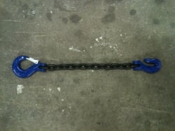 3/8 x 10 ft Grade 100 Safety Chain with Latching Safety Hook AND Grab Hook