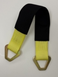 21 inch axle strap with wear sleeve and d rings YELLOW