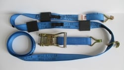 10 ft Diamond Weave ratchet wheel strap with double J wire hooks -Blue
