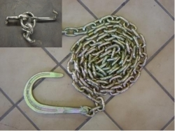 10 ft 3/8 grade 70 tow chain with 8 inch J hook and RTJ Cluster