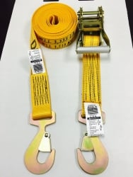 "2"" x 12' Cargo Ratchet Strap Diamond Weave w Flat Snap Hooks"