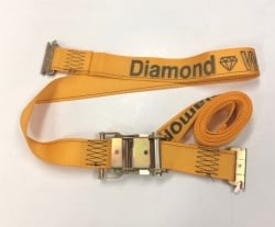 "2"" x 12' Gold DIAMOND WEAVE Cargo E-Track Ratchet Strap with Spring E-Fittings"