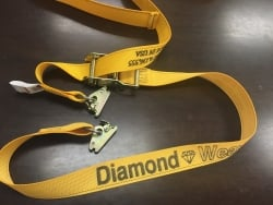 "2"" x 12' DIAMOND WEAVE Cargo E-Track Ratchet Strap with Spring E-Fittings & O-Rings (color options)"
