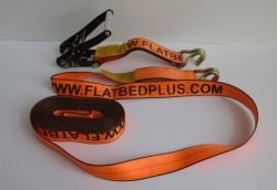"2"" x 30' Cargo Strap Big Orange Ratchet Assembly with Double J Wire Hooks (8 per box)"