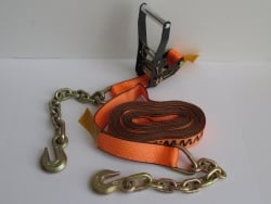 "2"" x 30' Cargo Strap Big Orange Ratchet Assembly with Chain-Grab Hooks (8 per box)"