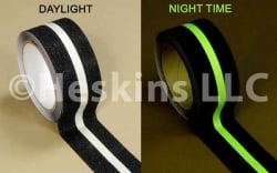 "2"" x 60ft Anti slip Tape Black with Glow in the Dark Stripe"