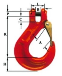"1/2"" G80 Laclede Sling Hook with Heavy Duty Safety Latch"
