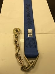 "4"" x 14' Winch Strap Diamond Weave w Chain Extension 3/8"" G70"