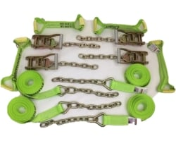 8 Point Kit of Hi-VIZ DIAMOND WEAVE Flatbed / Rollback Car Tie-Downs with Chain Tails
