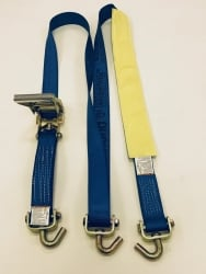 Low Profile 10 FT Diamond Weave -SHORT Swivel J Hook Wheel Strap w Ratchet-BLUE
