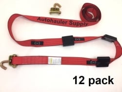 "12 Pack of 2"" x 14' Red TECNIC Webbing Wheel Straps with Swivel-J Hooks and Rubber Tread Grabs"