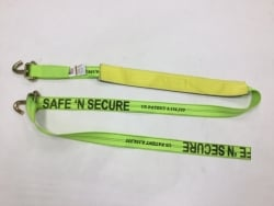 Low Profile 14 FT Diamond Weave Swivel J Hook Wheel Strap-HiViz Green