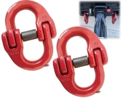 "2 Pack of 1/2"" G80 Red Hammerlock Coupling Link Kits for Heavy Duty Truck Safety Chain Towing Hitch and USPS Priority Shipping Included!"