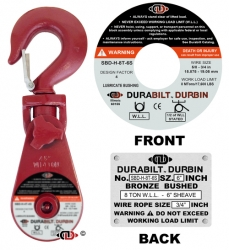 "Durabilt Snatch Block 8 ton w/ Swivel Hook-6"" Sheave"
