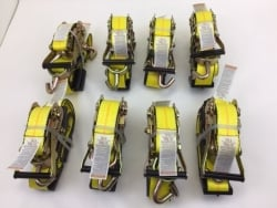 "8 Pack of 2"" x 10' Yellow Wheel Straps with Rubber Tread Grabs & Swivel-J Ratchet Handles and Shipping Included!"