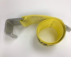 "4"" X 2ft waste bin strap with Silver Container Hook and bolt loop"