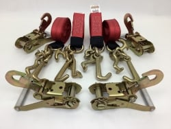 4 Pack of 10' Red DIAMOND WEAVE Frame Hook Straps with Snap Hook Ratchet Handles and USPS Priority Shipping Included!