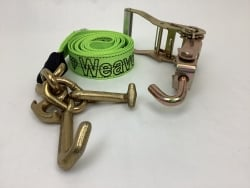 One Set of 10' Hi-VIZ Green DIAMOND WEAVE Frame Hook Strap with Swivel-J Ratchet Handle and USPS Priority Shipping Included!