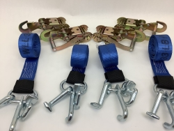 4 Pack of 10' Blue 12k Webbing Frame Hook Straps with Snap Hook Ratchet Handles and USPS Priority Shipping Included!
