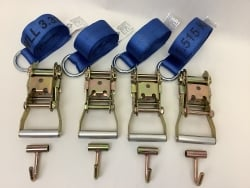4 Pack of 8' Blue 12k Webbing O-Ring Lasso Straps with Finger Hook Ratchet Handles  and USPS Priority Shipping Included!