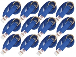 12 Pack of 8' Blue 12k Webbing Lasso Straps with Steel D-Rings and USPS Priority Shipping Included!