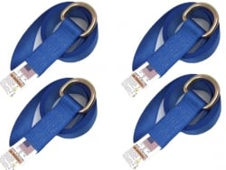 4 Pack of 8' Blue 12k Webbing Lasso Straps with Steel D-Rings and USPS Priority Shipping Included!