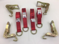 4 Pack of 8' Red 12k Webbing D-Ring Lasso Straps with Finger Hook Ratchet Handles and USPS Priority Shipping Included!