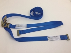 "2"" x 20' Blue Cargo E-Track Ratchet Strap with Spring E-Fittings"