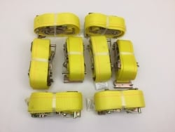 "8 Pack of 2"" x 12' Yellow Cargo E-Track Ratchet Straps with Spring E-Fittings and USPS Priority Shipping Included!"