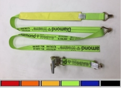 "2"" x 10' DIAMOND WEAVE Wheel Strap with 2' Low Pro Grip Sleeve & Double-J Ratchet Handle (color options)"
