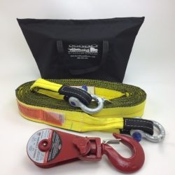 "3"" x 30' Triple Ply Tow & Recovery Strap with 3/4"" Screw Pin Shackles and Durabilt Snatch Block 4 ton w/ Swivel Hook"