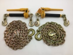 2 pack Peerless Quickbinder and 2  3/8 x 10 ft Grab Hook and Safety Hook Grade 70 Chains FREE SHIPPING
