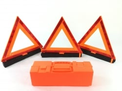 17.5 inch Warning Triangles (reflective)- 3 pack with storage box