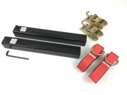 "20 Inch Tow L-Arm sleeve kit with 2"" X 8' Red Tecnic Lasso's and Mini Ratchet with Finger Hooks"